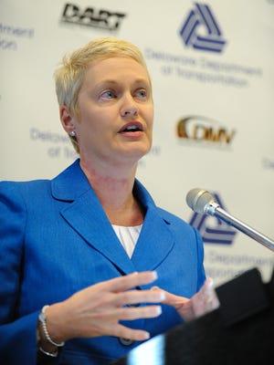 Jennifer Cohan speaks after being sworn in as the 10th Secretary of Transportation.