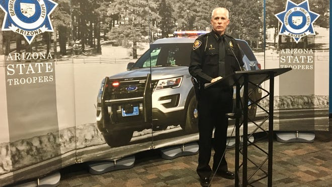 David Sargent, chief of police for the Pinetop-Lakeside Police Department, addresses reporters during a news conference Oct. 24, 2017. He publicly thanked a man who used a leather belt to help save the life of an officer who was shot while on-duty earlier this month.