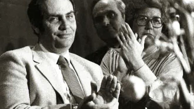 Stephen Brown and wife Ellen Brown applaud during an event at the San Angelo Convention Center in 1983.
