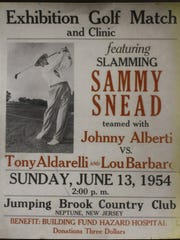 A poster shown promoting a charity golf event at Jumping Brook in Neptune featuring Sam Snead in 1954, 12 years after Snead won the PGA Championship at Seaview outside Atlantic City.