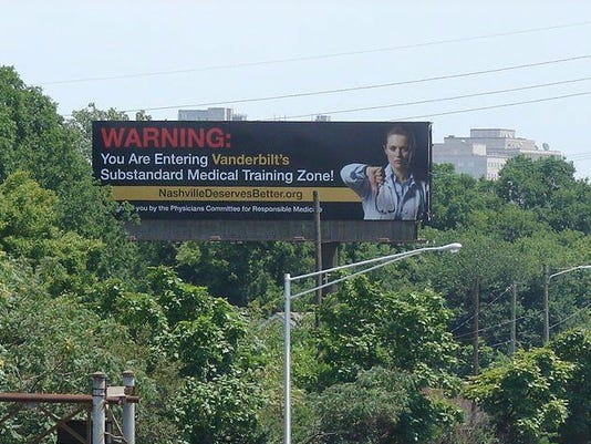 Billboard re Vanderbilt. Physicians Committee