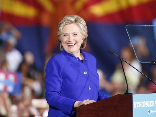 Hillary Clinton speaks during a rally at ASU in Tempe