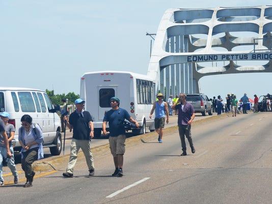 Movie crew cross Pettus bridge.jpg