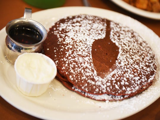 The Record's food editor Esther Davidowitz and chef Ariane Duarte go on a food crawl through Montclair, NJ on Thursday November 09, 2017. Red Velvet pancakes at TOAST.