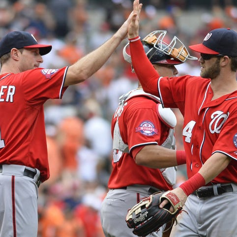 Max Scherzer and Bryce Harper of the Washington Nationals