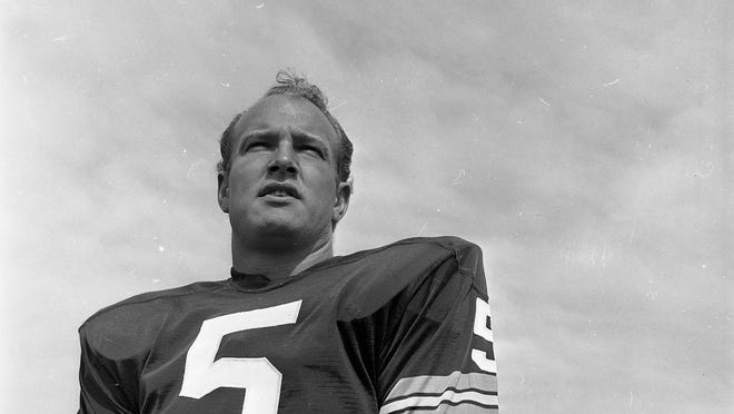 Green Bay Packers halfback Paul Hornung at picture day on the team's practice field in 1966 in this photo from the Green Bay Press-Gazette archives.