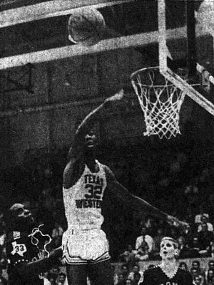 SHED HOOKS - Texas Western's Nevil Shed goes high to hook the ball toward the basket early in the second period of a game with Pan American College of Edinburg, Tex. Saturday night in Memorial Gym. The Miners took a 67-47 victory over the highly-ranked NAIA team for their third win of the season.