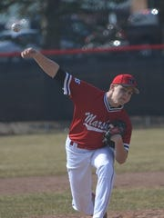 Marshall pitcher Trenton Fuller throws home during