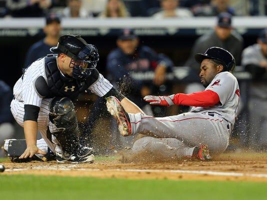 Yankees Red Sox Brian McCann Sunday night April 2014