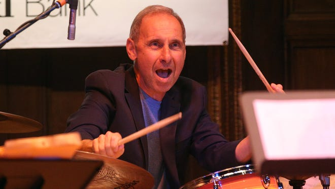 Joe LaBarbera on the drums with the John LaBarbera Big Band at Kilburn Hall  during the last night of the Xerox Rochester International Jazz Festival.