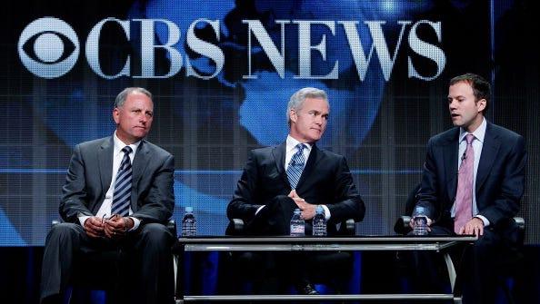 From left, Jeffrey Fager, chairman of CBS News, anchor Scott Pelley and CBS News president David Rhodes attend the 2011 CBS Summer Press Tour in Beverly Hills, Calif.