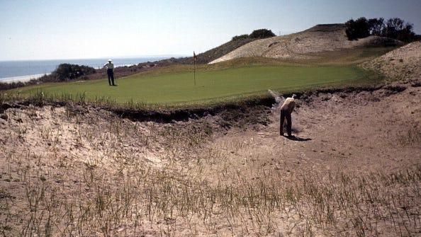 JEKYLL ISLAND,GA - CIRCA 1940: A view of the Island club members playing golf on Jekyll Island, Georgia. (Photo by Ivan Dmitri/Michael Ochs Archives/Getty Images)