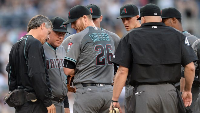 Apr 16, 2016; San Diego, CA, USA; Arizona Diamondbacks starting pitcher Shelby Miller (26) is looked out by a trainer after being injured during the second inning against the San Diego Padres at Petco Park.