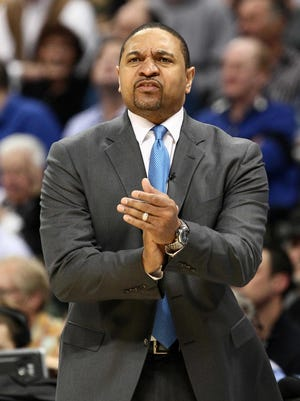 Mark Jackson coaches the Warriors against the Nuggets in the 2013 NBA Playoffs at the Pepsi Center.