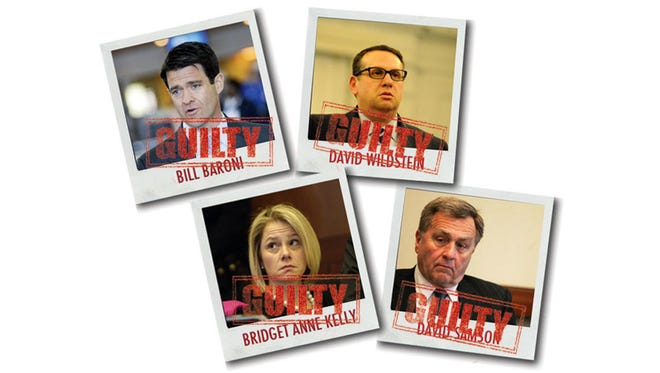 Bill Baroni, clockwise from upper left; David Wildstein; David Samson; and Bridget Anne Kelly all have been found guilty of various crimes and all either worked for New Jersey Gov. Chris Christie or were his political appointments to boards.