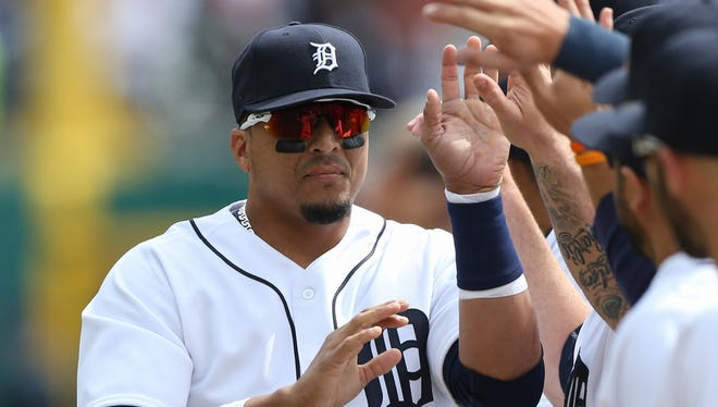 Detroit Tigers' Victor Martinez is introduced before Tigers Opening Day action against the New York Yankees on Friday, April 8, 2016 at Comerica Park in Detroit, MI.