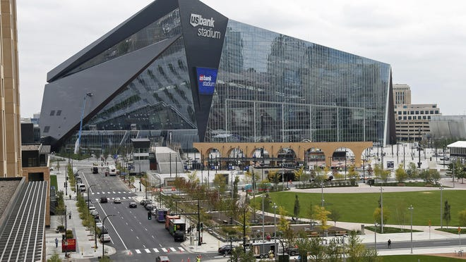 US Bank Stadium, the new home of the NFL Minnesota Vikings football team, is shown on Sept. 15 in Minneapolis. The Vikings will host the Green Bay Packers in the first regular-season game in the new stadium on Sunday.