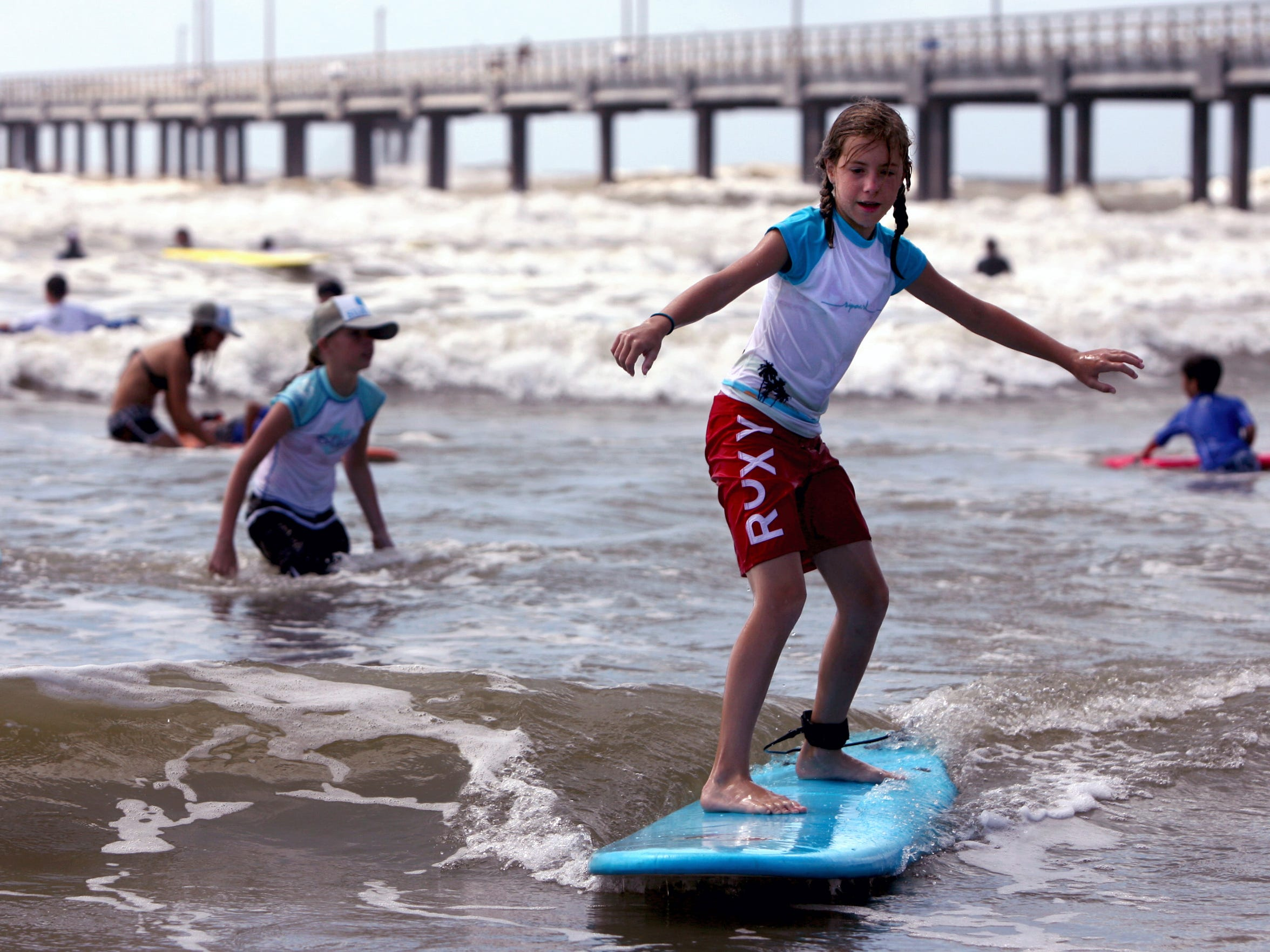 Texas Surf Camps offers weekly surfing camps through August for ages 6 and older at both Bob Hall Pier in Corpus Christi and Horace Caldwell Pier in Port Aransas.
