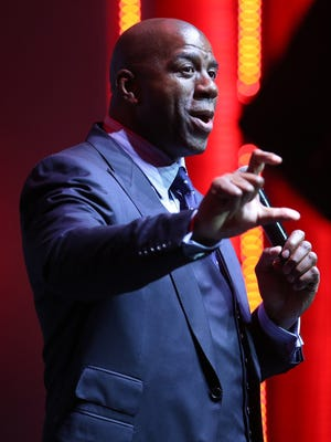 Magic Johnson talked to an audience at the Fuel Leadership Conference at the Sound Board in the Motor City Casino in Detroit on April 13.