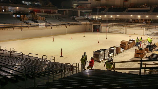 Fifth Third Arena during its $87 million renovation on Wednesday, July 18, 2018 at the University of Cincinnati. The arena is scheduled to re-open in November.