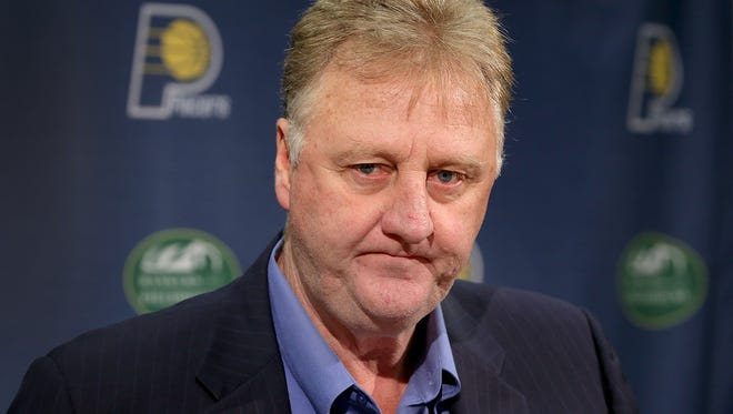 Indiana Pacers president Larry Bird fields questions from reporters during their season ending press conference Friday Bankers Life Fieldhouse. The Pacers finished the season 38-44 and missed the playoffs.