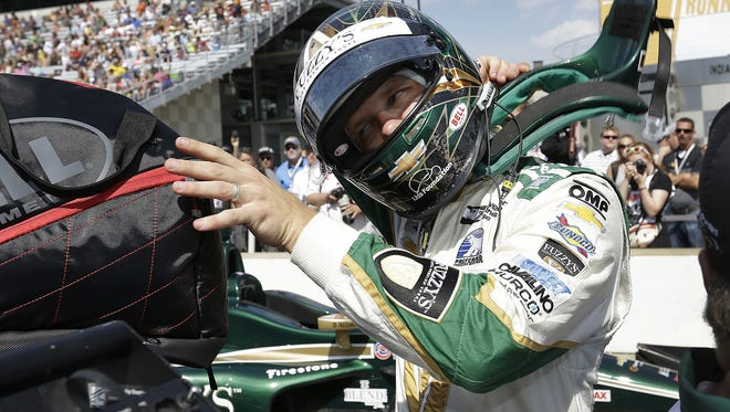 IndyCar driver Ed Carpenter (20) following his qualifying run  for the Indianapolis 500 on Armed Forces Pole Day Sunday, May 22, 2016, afternoon at the Indianapolis Motor Speedway.
