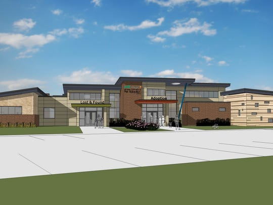 Architect's rendering of the new Oakland County Animal Shelter and Pet Adoption Center, to be completed by fall 2017.