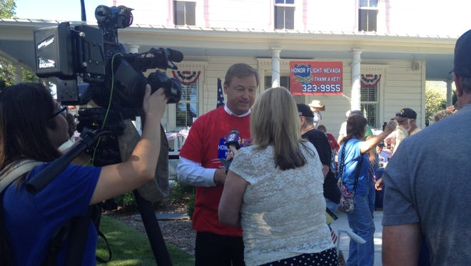 U.S. Sen. Dean Heller, R-Nev., does an interview at the Honor Flight Nevada Pancake Breakfast on Monday morning.