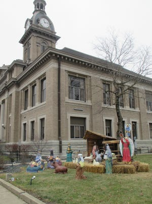 This Nativity scene, displayed on the lawn of the Franklin County Courthouse in Brookville, Ind., was the subject of a lawsuit by the American Civil Liberties Union of Indiana. A federal judge in Indiana has dismissed the suit.