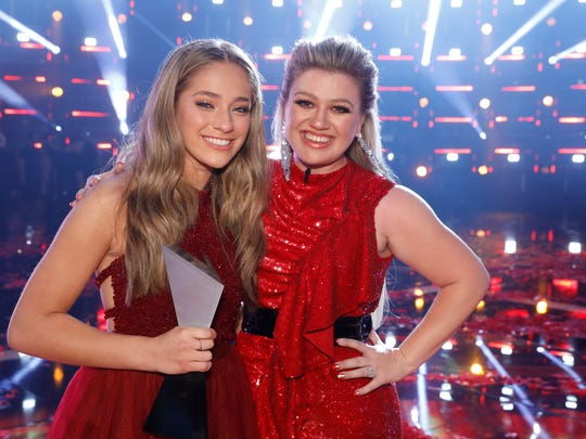 """""""The Voice"""" winner Brynn Cartelli, left, worked with coach Kelly Clarkson during Season 14. It was Clarkson's first season on the show."""
