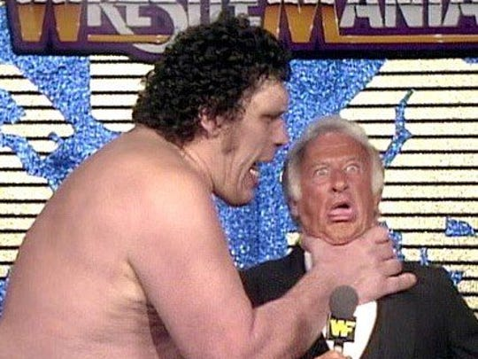 Mr. Baseball, Bob Uecker, provided some comic relief for WrestleMania III, especially during his pre-match interview with Andre the Giant.