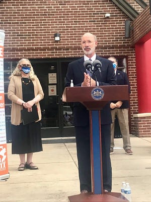 Gov. Tom Wolf talks about the creation of a COVID-19 Response Task Force for Health Disparity at a news conference in York Thursday. The idea is to communicate issues about how the pandemic is affecting minority and marginalized populations.