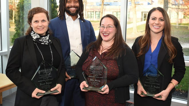 Ronni Lerner (from left), Floyd Barnett III, Lida Stroup and Danielle Hughes were named 2018 Distinguished Alumni at the Shirlee and Bernard Brown University Center at Cumberland County College in Vineland.