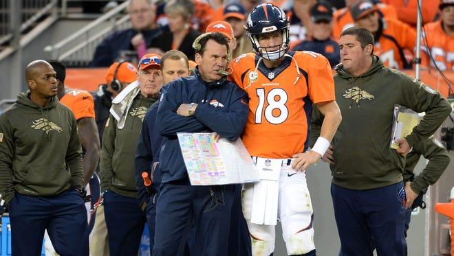 Will Peyton Manning (18) have to tweak his game to get back into Gary Kubiak's lineup.