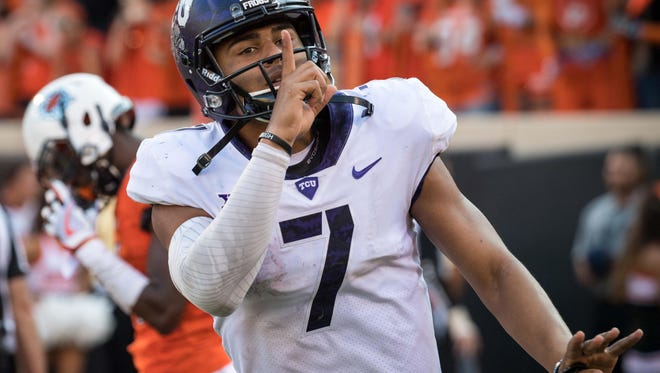 TCU quarterback Kenny Hill reacts after a touchdown in a win over Oklahoma State.