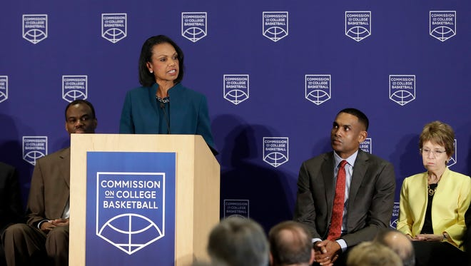 Former U.S. Secretary of State Condoleezza Rice speaks during a news conference at the NCAA headquarters, Wednesday in Indianapolis. The Commission on College Basketball led by Rice, released a detailed 60-page report, seven months after the NCAA formed the group to respond to a federal corruption investigation that rocked college basketball.
