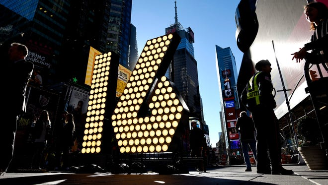 A view of giant numbers covered in light bulbs that will be used to ring in 2016 during an event promoting New Year's Eve in Times Square in New York.