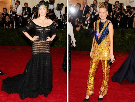 Kate Upton (left) and Brie Larson's looks for the Met Gala.