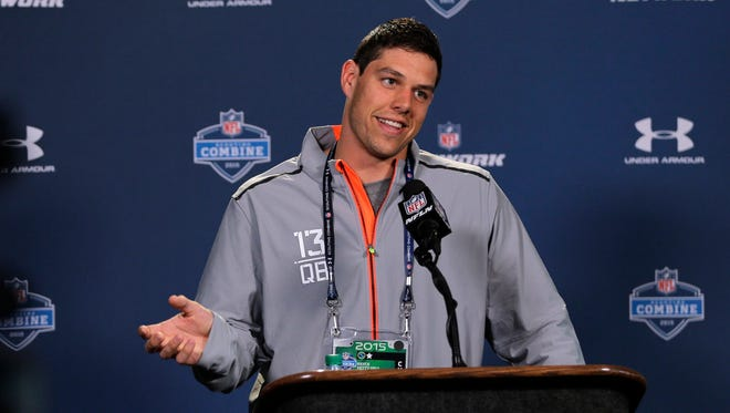 Baylor quarterback Bryce Petty answers a question during a news conference at the NFL scouting combine in Indianapolis, Thursday, Feb. 19, 2015.
