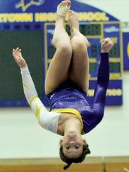 Watertown's Myah Morris competes during a meet earlier