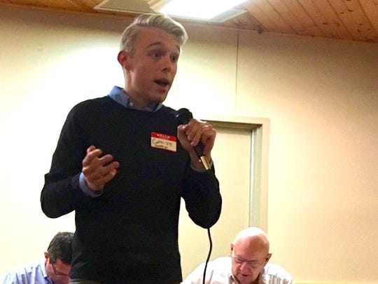 Collin West, co-founder of the Time for Biden super PAC, speaks to Illinois Valley Democrats.