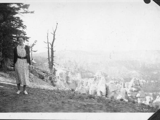 Ethel Rasmussen posed for a picture at Rainbow Point at the southern edge of Bryce Canyon National Park in Utah.