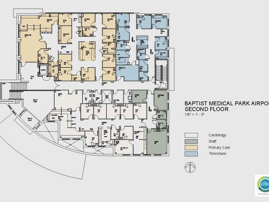 Baptist Health Care unveiled plans Tuesday for a new, 24,360 square foot, $6 million medical park near the airport that will open in early 2017.