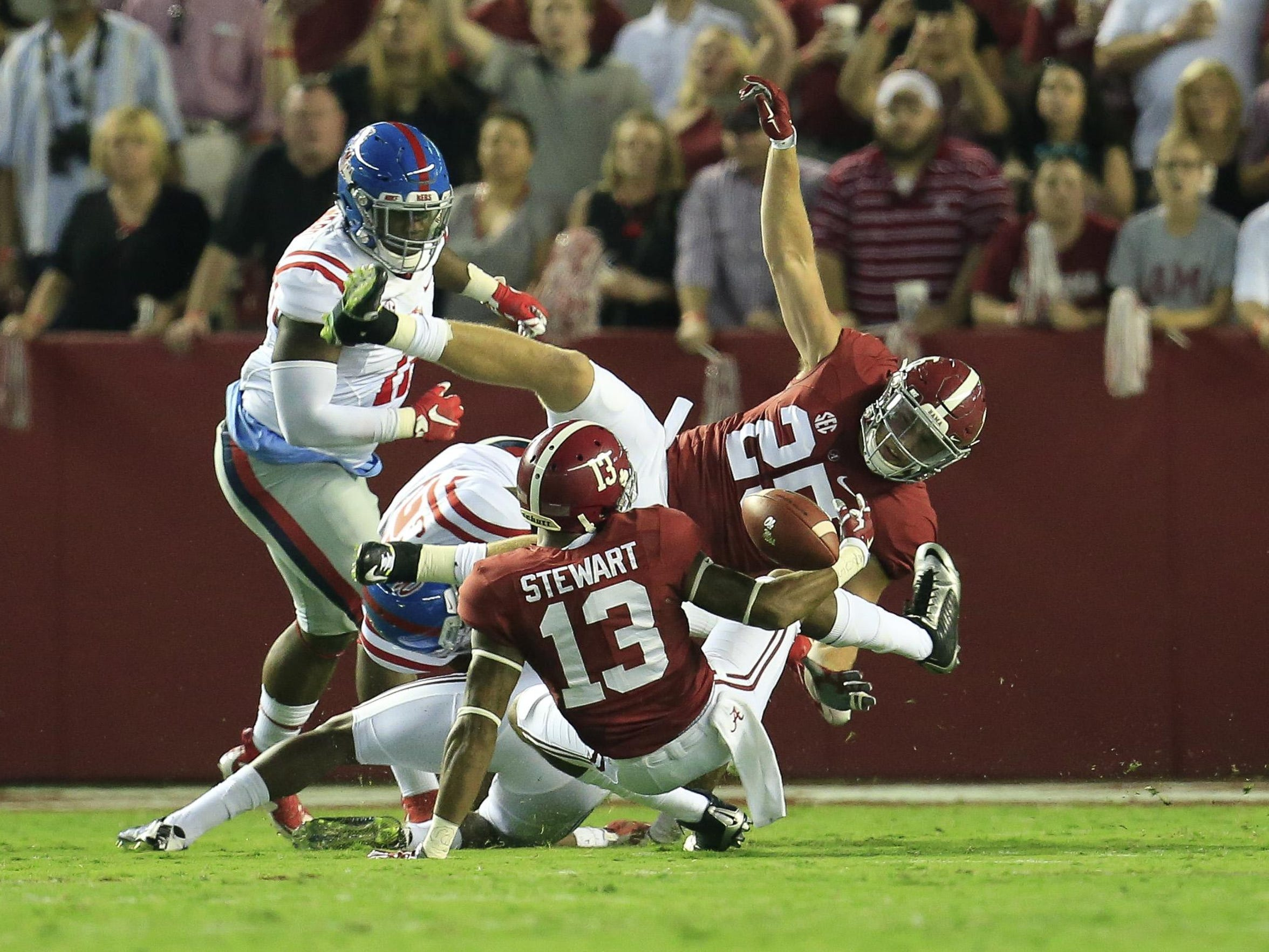Alabama wide receiver ArDarius Stewart fumbles the ball on the opening kickoff and Ole Miss recovers this past Saturday.