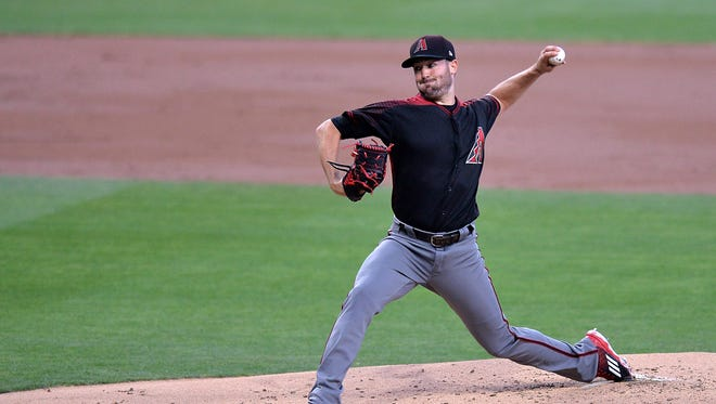 May 20, 2017: Arizona Diamondbacks starting pitcher Robbie Ray (38) pitches during the first inning against the San Diego Padres at Petco Park.