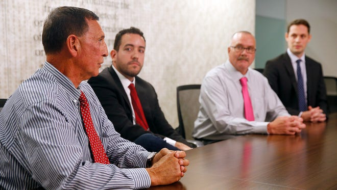 Shown during a 2nd District Congressional editorial board meeting at the Asbury Park Press in Neptune Monday, October 3, 2016, are (l-r) Frank A. LoBiondo, Republican U.S. Representative; Gabriel B. Franco, Independent; John Ordille, Libertarian; and David H. Cole, Democrat.