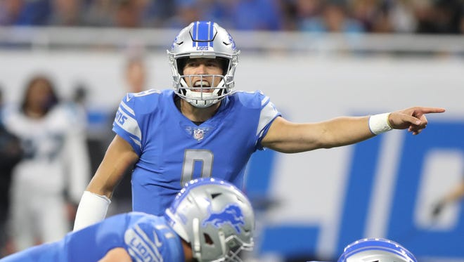 Matthew Stafford calls a play in the first quarter of the Lions' 27-24 loss to the Carolina Panthers at Ford Field, Sunday, Oct. 8, 2017.