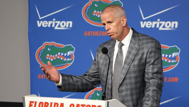 Jeremy Foley, University of Florida athletic director, speaks during a news conference at Ben Hill Griffin Stadium in Gainesville, Fla., Monday Nov. 17, 2014. Foley fired coach Will Muschamp on Sunday, a day after a 23-20 loss to South Carolina that was Florida's third straight at home and knocked the Gators out of contention in the Southeastern Conference's Eastern Division. (AP Photo/The Gainesville Sun, Brad McClenny)  THE INDEPENDENT FLORIDA ALLIGATOR OUT
