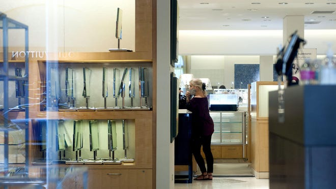 Shelves are nearly empty at Neiman Marcus at 151 Worth Ave. on Tuesday. The store will close Sept. 12, according to a spokeswoman.