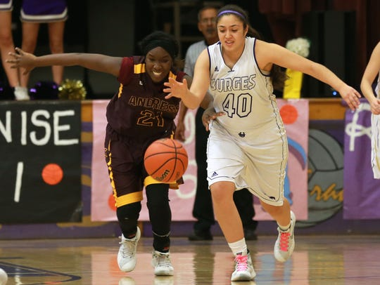Burges' Mayra Garcia, right, and Andress' Meleah Morgan